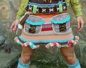 custom make BOHO chic mini SKIRT striped colorful pom pom scalloped crochet upcycled POCKETS unique eco friendly