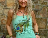 TANK sea foam PEACOCK FEATHER top tank top hand painted clothes bohemian clothing cotton tank top made to order