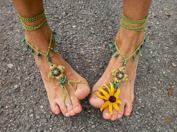 PISTACHIO BAREFOOT sandals green crochet beaded foot jewelry beach wedding bohemian gypsy shoes photo shoot props made to order