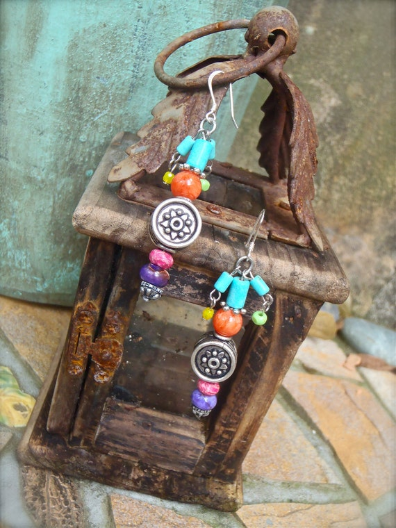 TRIBAL sterling plated copper drums gemstone EARRINGS gypsy bohemian jewelry colorful sterling fish hooks