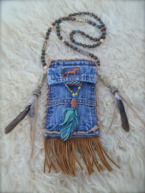 tribal american INDIAN MEDICINE bag denim with FEATHER charm turquoise suede leather beaded necklace