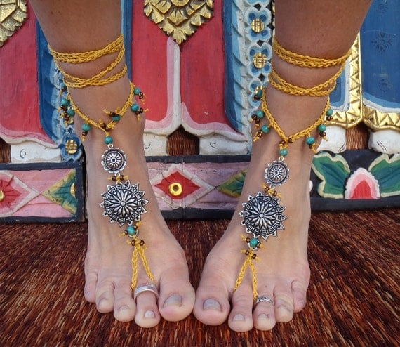 GYPSY yellow BAREFOOT SANDALS with antique flowers wheels hand made foot jewelry bohemian tribal made to order