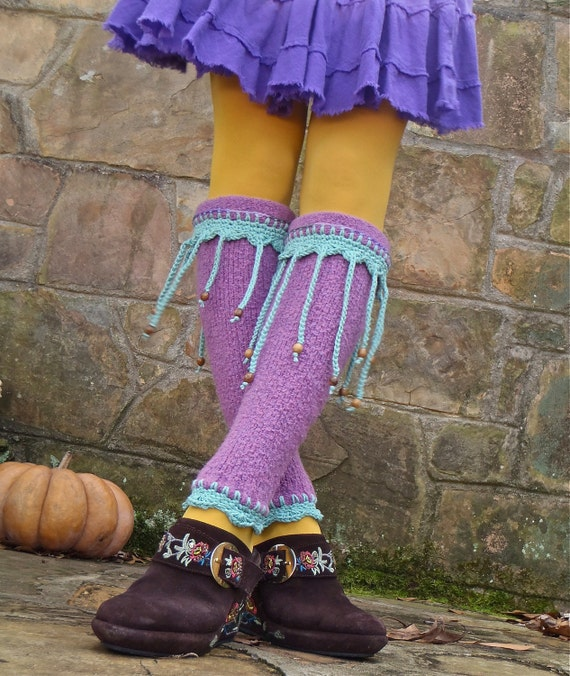 purple PIXIE LEG WARMERS with beaded fringe hippie bohemian upcycled eco friendly