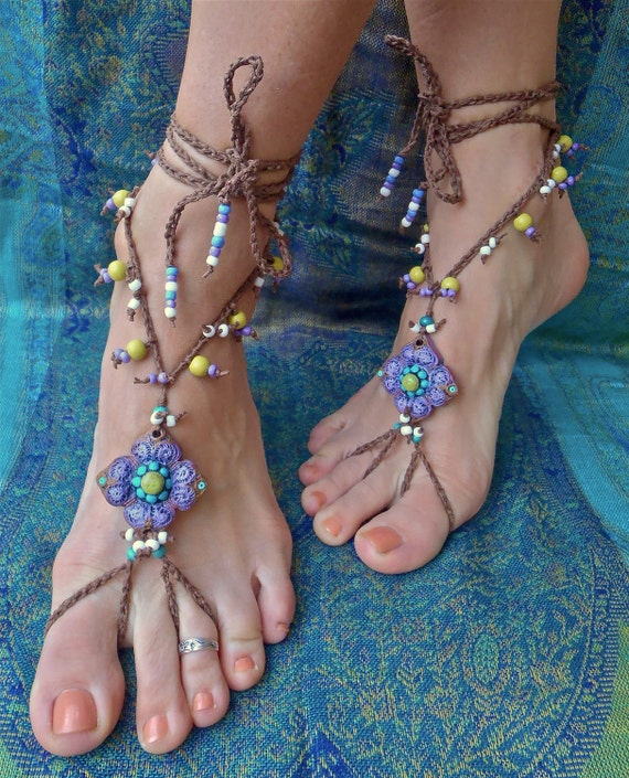gypsy PURPLE BAREFOOT SANDALS with crochet brown lace hand made foot jewelry hula hooping belly dance yoga wedding