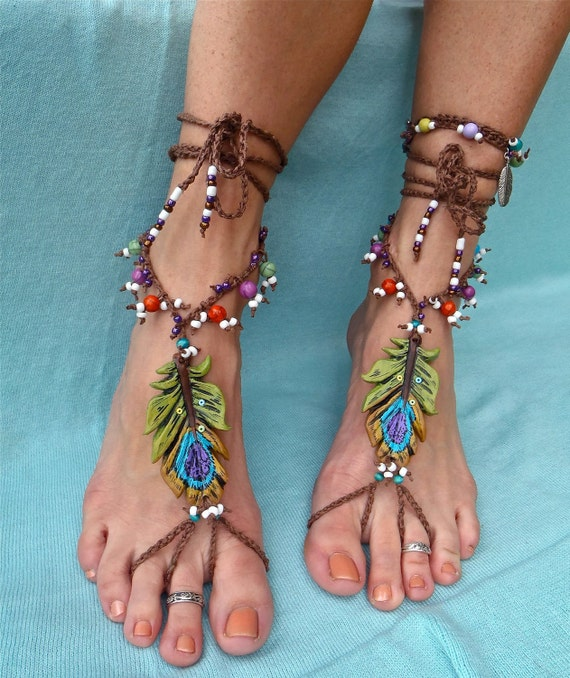 BOHEMIAN barefoot sandals PEACOCK FEATHER foot jewelry made to order festival hippie hula hooping belly dance yoga