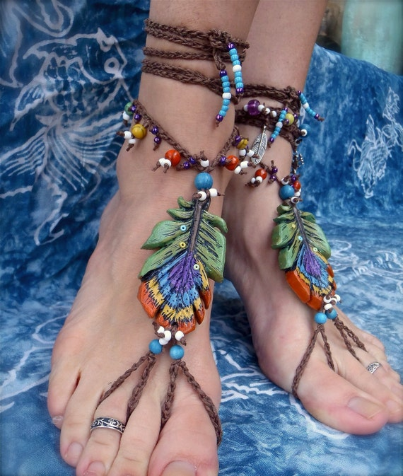 reserved for Pam GYPSY barefoot sandals PEACOCK feather for many occasions bridal sandals made to order hippie hula hooping belly dance
