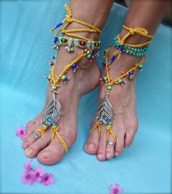 new PEACOCK FEATHER yellow barefoot sandals with ROYAL blue festival hippie beach belly dance foot jewelry