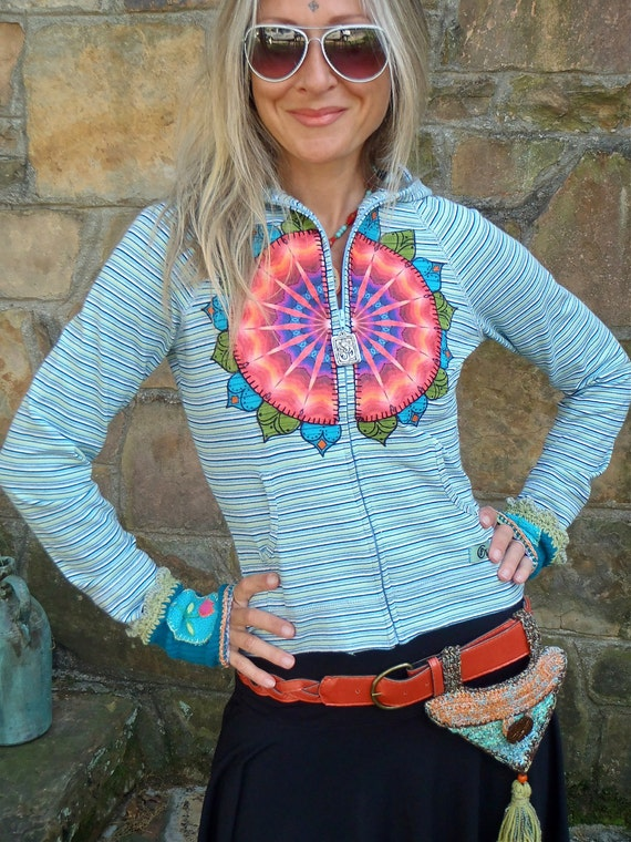 NEON love HOODIE jacket with orange red felt mandala embroidery HIPPIE yoga clothes gypsy bohemian funky eco friendly clothing small size