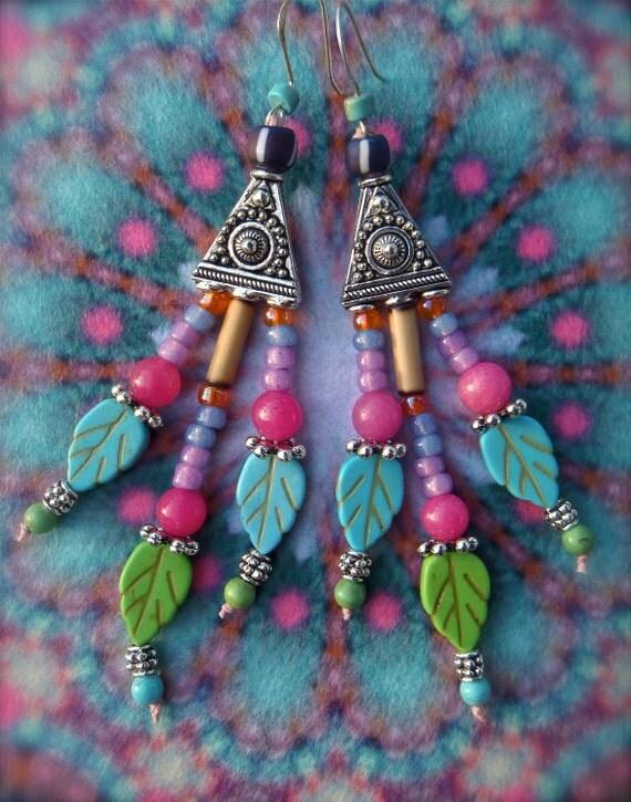 TURQUOISE GYPSY hippie EARRINGS colorful carved leaf earrings belly dance chandelier earrings