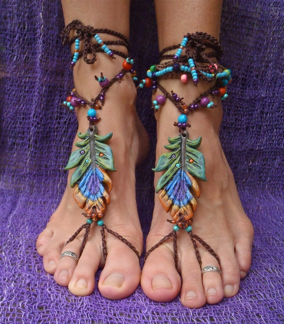 reserved GYPSY BAREFOOT sandals PEACOCK feather bridal sandals made to order hippie hula hooping belly dance foot jewelry beach