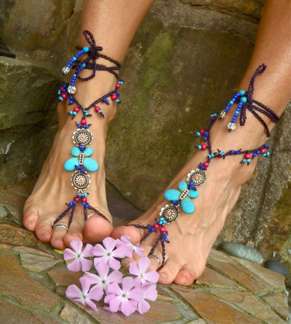 Special order for Carrie TURQUOISE BUTTERFLY BAREFOOT sandals Turquoise Butterfly Gypsy Fairy beach wedding hippie yoga foot jewelry GPyoga