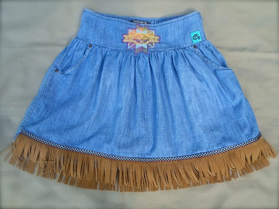NATIVE american indian SKIRT aztec leather fringe denim skirt BOHEMIAN upcycled hippie women size s/m
