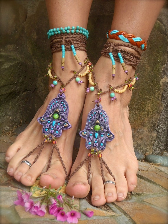 Hamsa Hand Barefoot Sandals Belly Dance Foot Jewelry Nude