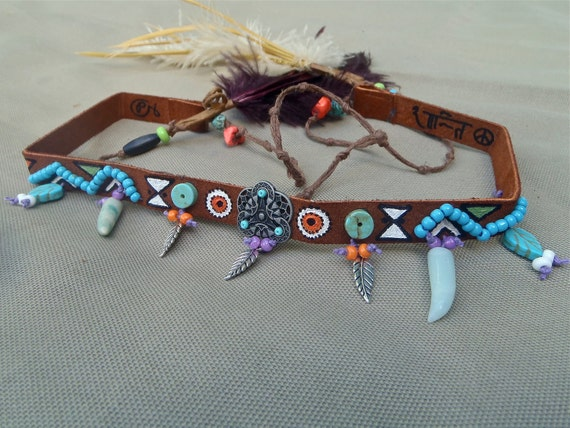 NATIVE HEADBAND choker necktie genuine leather OSTRICH feathers american indian hand painted beaded bohemian hippie leather headband