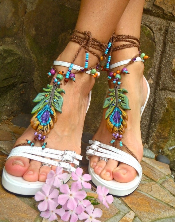 PEACOCK BAREFOOT sandals peacock feather bridal sandals made to order hippie belly dance foot jewelry photography prop beach made to order