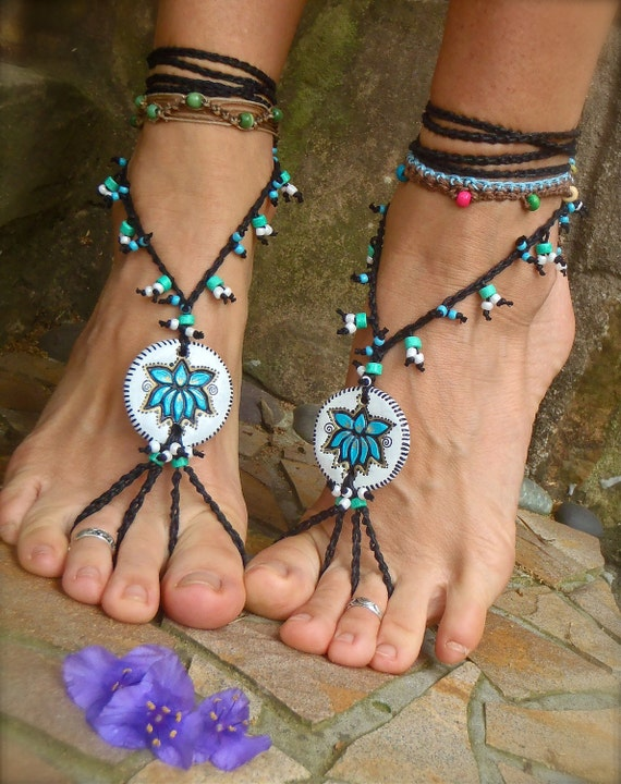 black and white TRIBAL LOTUS BAREFOOT sandals Black and White Wedding bohemian hippie hula hooping yoga dance foot jewelry bohemian shoes