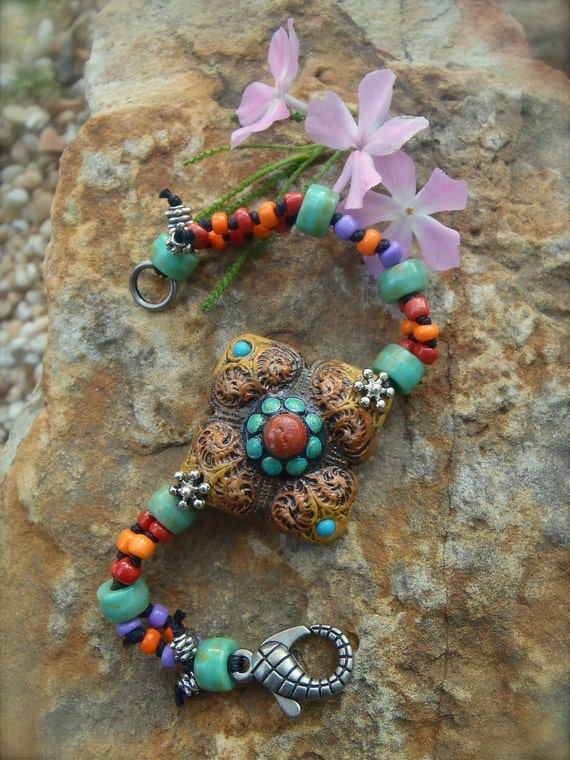 BOHEMIAN shanti BRACELET earthy colors hand made jewelry gypsy GAIA mother earth made to order