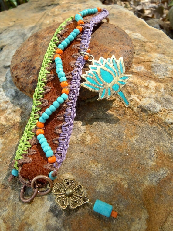 leather cuff TURQUOISE LOTUS bracelet bead crochet bracelet YOGA jewelry bohemian hippie feminine spiritual bracelets