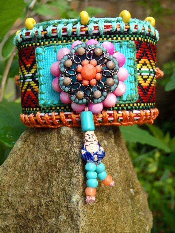 AZTEC BUDDHA cuff BRACELET tribal native american friendship bracelet statement bracelet yoga gypsy hippie hand made jewelry
