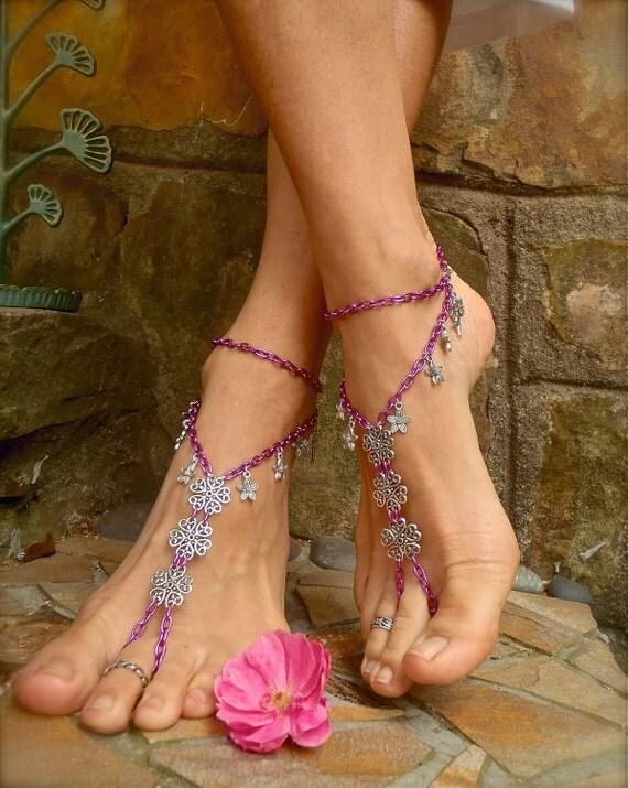 ANGELS BAREFOOT SANDALS  pink chain bridal beach wedding dance yoga hippie boho chic beach anklet slave anklet