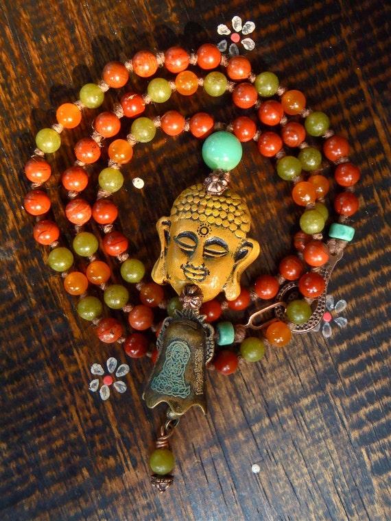 MEDITATION necklace BUDDHA NECKLACE bell charm gemstones spiritual necklace yoga jewelry