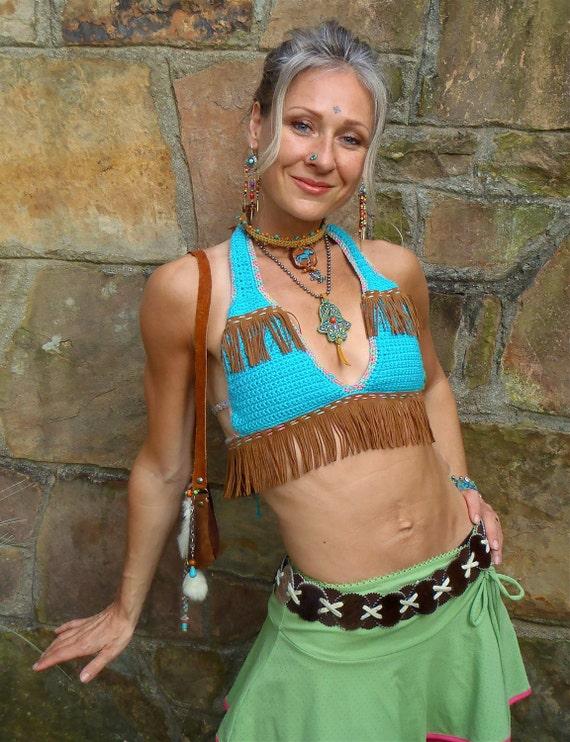 TRIBAL crochet festival BIKINI HALTER bra top leather fringe turquoise cotton hula hooping beach belly dance