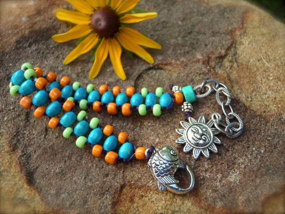 bead woven BRACELET neon colors tribal native american FISH gypsy SUN charm bracelet stackable bracelet yoga gypsy hippie hand made jewelry