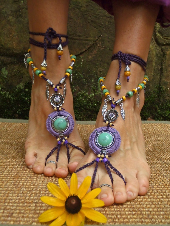 PURPLE dream BAREFOOT SANDALS Barefoot Wedding tribal belly dance jewelry slave anklet hula hooping foot jewelry bohemian shoes unique