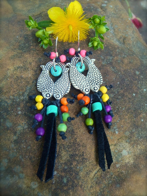 twin FISH earrings leather earrings ZODIAC earrings pieces gemini leather fringe earrings