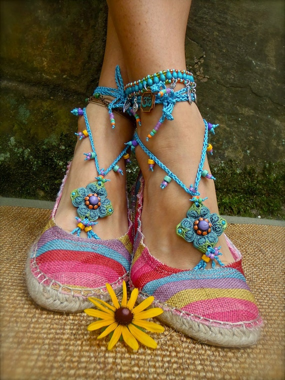 BLUE summer BAREFOOT SANDALS crochet sandals beaded sandals slave anklets foot jewelry beach wedding bohemian gypsy shoes