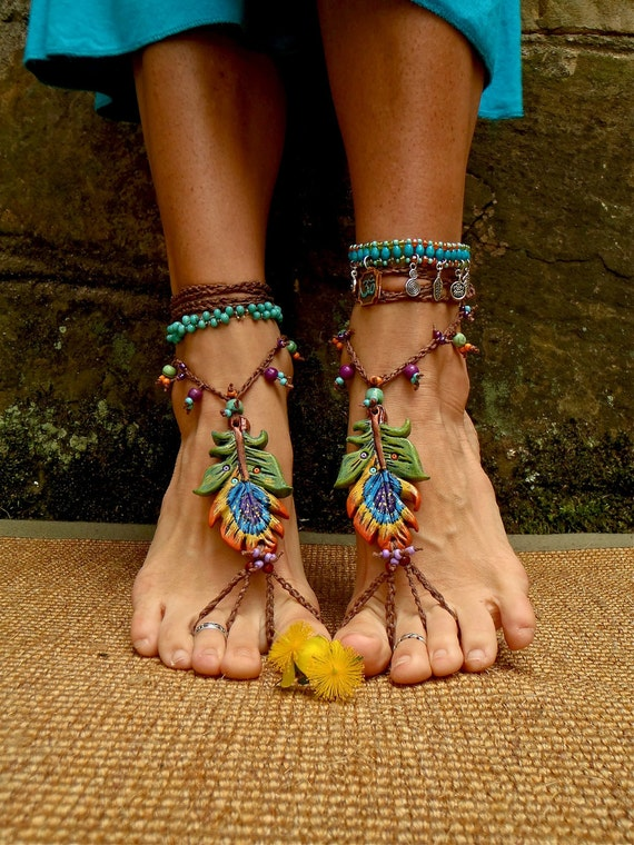 PEACOCK BAREFOOT sandals peacock feather sole less shoes bridal sandals made to order hippie belly dance foot jewelry photography prop beach