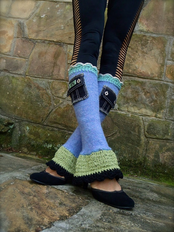 funky URBAN chic purple leg WARMERS with black DENIM pockets and slits hippie bohemian up cycled unique lilac