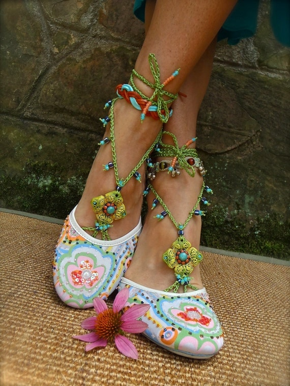 PISTACHIO BAREFOOT sandals green turquoise SANDALS crochet beaded bridal shoes beach wedding bohemian gypsy shoes photo shoot props