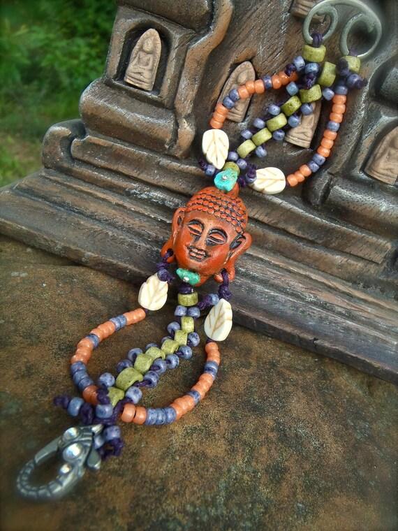 HAPPY BUDDHA BRACELET spiritual bracelet beaded bracelet cuff yoga jewelry bohemian gypsy bracelet hand made