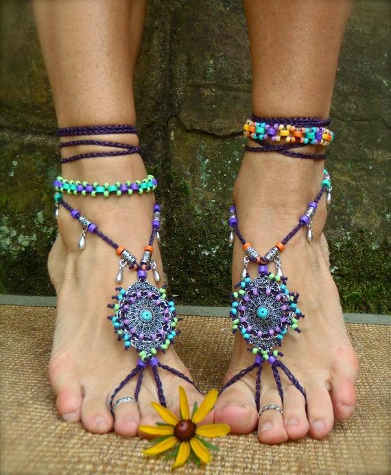 bohemian DREAM BAREFOOT SANDALS sole less sandals beach wedding rainbow dance jewelry slave anklet foot jewelry bohemian shoes unique