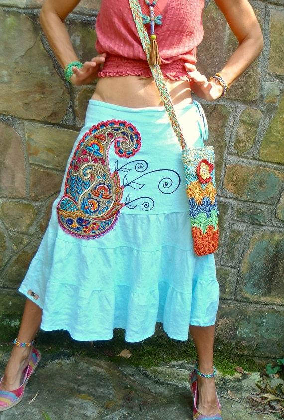 INDIE skirt PAISLEY aqua blue SKIRT linen skirt embroidered hand painted belly dance skirt long skirt gypsy bohemian skirt eco friendly