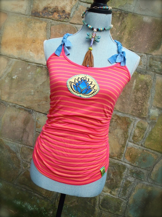 neon LOTUS tank TOP hot PINK top blue lotus hippie tank top bohemian hand painted embroidered eco friendly