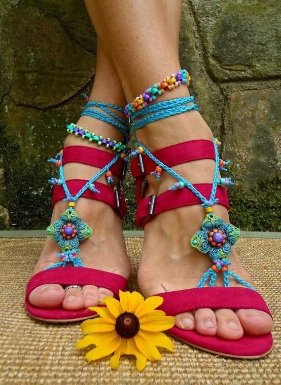 summer blue BAREFOOT SANDALS crochet sandals beaded sandals foot jewelry beach wedding bohemian gypsy shoes