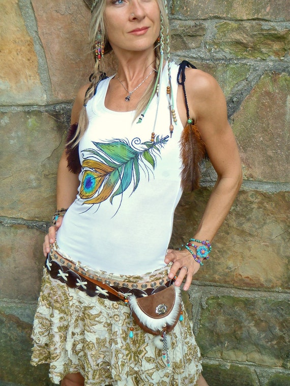 TANK white PEACOCK FEATHER top tank top hand painted clothes bohemian clothing cotton tank top