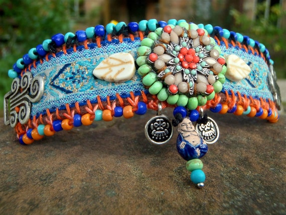 INDIE BUDDHA cuff BRACELET tribal friendship bracelet statement bracelet beaded bracelet yoga gypsy hippie hand made jewelry