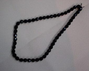 czech jet black glass beads  20 pc  10 mm