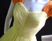 1960's Orange and Yellow Cocktail/Prom Dress   Waist 28""