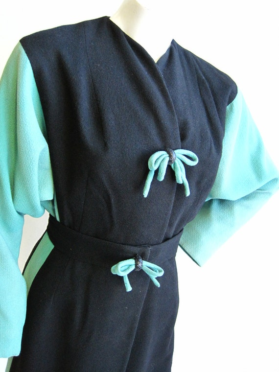 1940's Black and Teal Lilli Ann Coat Sz S