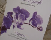Simple Orchid Wedding Menu - Custom Design & Printed