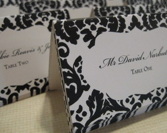 Black and White Damask placecards or escort cards - set of 20 - custom printed
