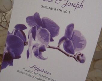 Simple Orchid Wedding Menu - Custom Design & Printed