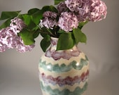 Spring Vase in Purple, Green and White