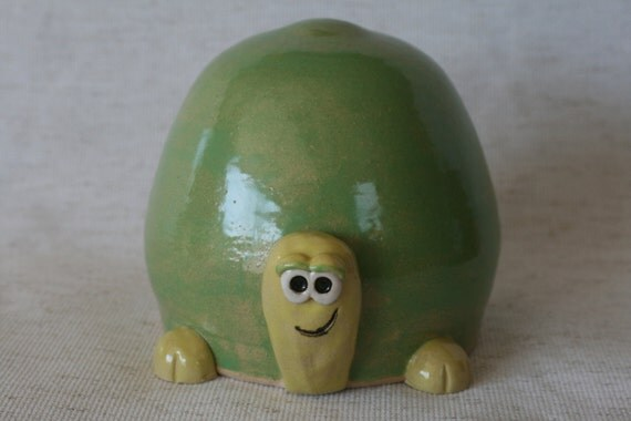 Turtle Coin Bank in Green & Yellow