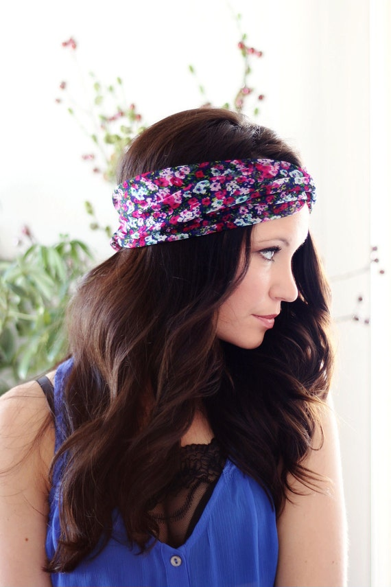 Navy and Pink Floral Turban Style Headband