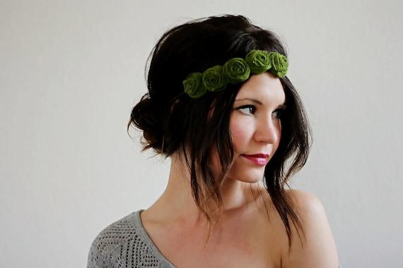 Moss Rosette Headband